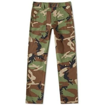 SLIM 4 POCKET FATIGUE PANTS - WOODLAND CAMO