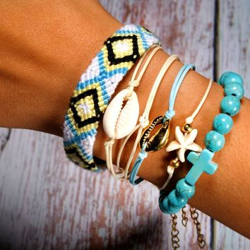 6 Pieces Puka Shell Bracelet Set Cross Beads Boho Bracelet Summer Jewelry