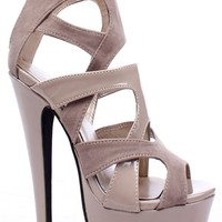 NUDE FAUX LEATHER SUEDE STRAPPY PLATFORM HEELS BOOTIE