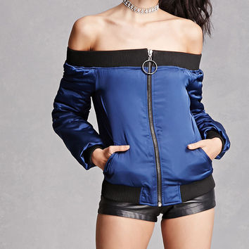 Off-the-Shoulder Bomber Jacket