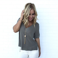 In Living Color Blouse In Olive