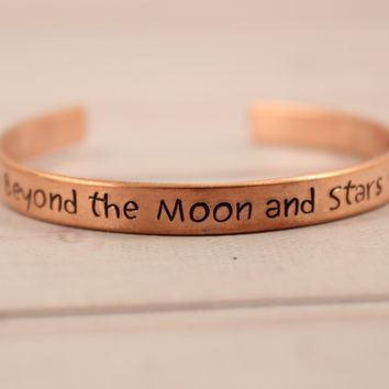 """Beyond the moon and stars"" - Cuff Bracelet - Ready to ship & discounted."