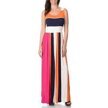 Chelsea and Theodore Women's Colorblock Striped Maxi Dress