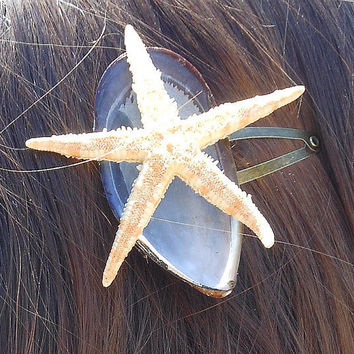 Mussel Hair Clip Golden Starfish Seashell Hair Accessory