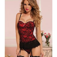 Victorian Lace Red Bustier & Thong Set - Spencer's
