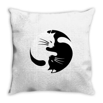 yin yang cat Throw Pillow
