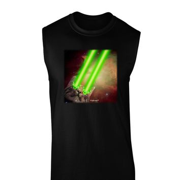 Laser Eyes Cat in Space Design Dark Muscle Shirt  by TooLoud