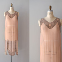 1920s dress / beaded 20s dress / A Little Paris silk dress