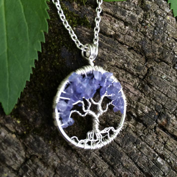 Iolite Tree of Life Pendant---Petite Pendant On Silver Chain Wire Wrapped Semi Precious Gemstone Jewelry