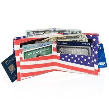 USA Flag Style Men's Billfold Wallet