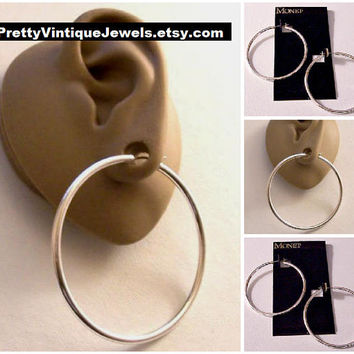 Monet Big Tube Hoops Pierced Stud Earrings Silver Tone Vintage Extra Large Open Round Ring Surgical Steel Post Dangles