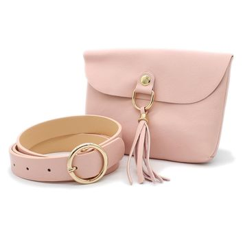 """Women's Set of Tassel Waist Pouch and O-Ring Buckle 1"""" Width Faux Leather Belt"""