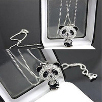 Fashion Pretty Enamel Rhinestone Panda Pendant Long Sweater Chain Necklace = 1920421828