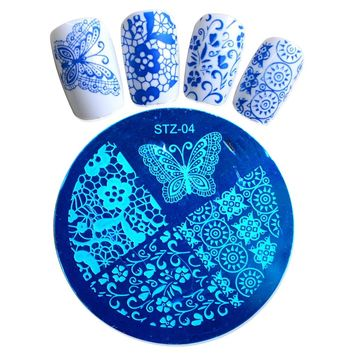 1pcs Nail Art Polish Image Stamp Stamping Plates Template Fashion Butterfly Flower Designs Manicure Nail Stencils Decor BESTZA04