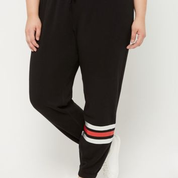 Plus Black Striped Ankle Boyfriend Jogger | Plus Joggers & Sweatpants | rue21