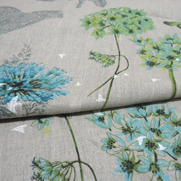 Square Linen tablecloth Natural linen table cloth butterfly print, blue green flowers tablecloth. New Year's Day Gifts