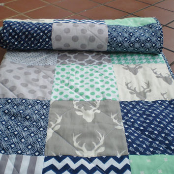 Baby quilt,navy,grey,mint green,Baby boy bedding,baby girl quilt, Crib quilt,chevron,deer,arrows,rustic,woodland,toddler,Buck Forest in Mint