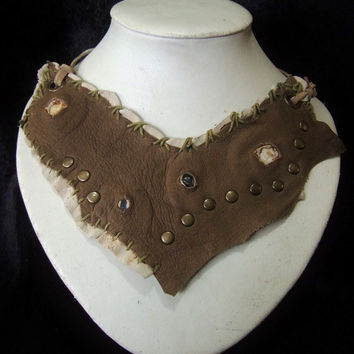 Two Tone Bone & Mustard Brown Leather Necklace Statement Piece - with Shells, Labradorite Chips