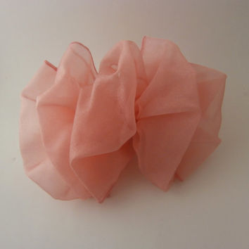Handmade Hair Barrette Clip - Peach Sheer Shimmering Fabric, Casual or Dressy