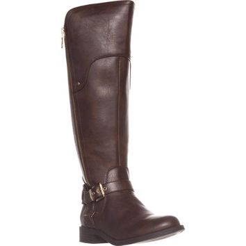 G by Guess Harson Wide Calf Flat Knee-High Boots, Dark Brown, 7.5 US
