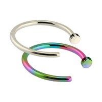 BodyJ4You Nose Hoop Ring Surgical Steel Rainbow Silvertone Set Nose Retainer 18G Piercing Jewelry 2 Pieces