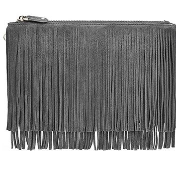 Mighty Purse Smartphone Charging Wristlet Fringe Suede Grey