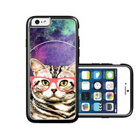 RCGrafix Brand Springink Hipster Possessed Cat Geek Glass iPhone 6 Case - Fits NEW Apple iPhone 6