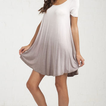 Smooth Ombre T-Shirt Dress - Mocha