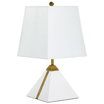Giza White & Brass Contemporary Accent Lamp by Cyan Design