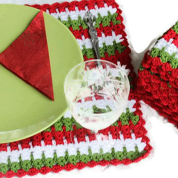 Handmade Placemat - Set Of Six -Red Green White - Crochet Placemat