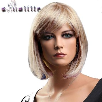 S-noilite Short Blonde Red Bob Hair Wig Heat Resistant Blonde Synthetic Wigs Black Brown Women Natural Fake Hair Pieces