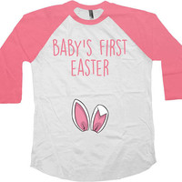 Easter Baby Announcement Pregnancy Reveal Baseball T Shirt Maternity Outfit Easter Bunny Mommy To Be Baby's First Easter Raglan Tee - SA1035