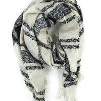 Pleasantly Plaid Blanket Scarf in Beige