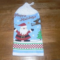 Happy Holidays Hanging Santa Dish Towel With Hand Knit Topper and Ties