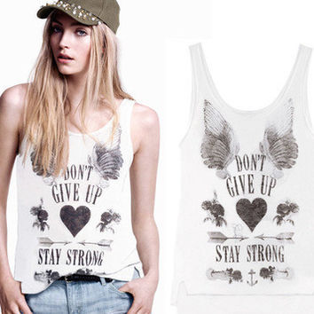 SIMPLE - Fashion Floral Loose Round Necked Sexy Strap Top Women Tank Vest b4722