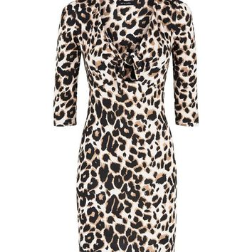 Brown Leopard Print Tie Front Bodycon Dress | New Look