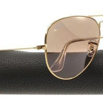 PEAPON Ray-Ban AVIATOR GRADIENT 55mm Gold w/ Silver, Pink Mirror Sunglasses