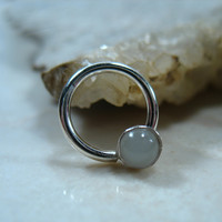 Septum Ring Sterling Silver Gemstone Moonstone