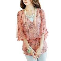 Allegra K Lady V Neck Batwing Sleeve Semi Sheer Floral Prints Tunic Shirt Pink S