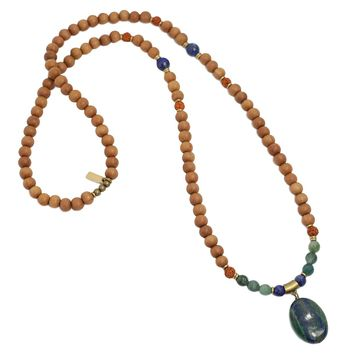 Lapis Lazuli and Sandalwood 'Intuition and Healing' Mala Necklace