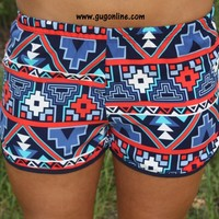 Mayan Madness Shorts in Blue