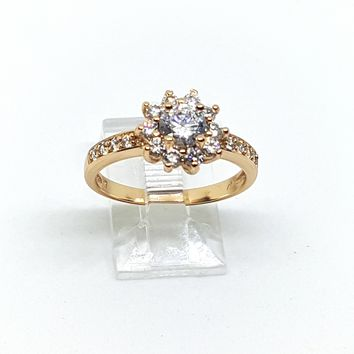 1-3104-h2 Gold Plated Solitaire Flower CZ Ring.