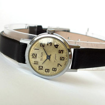 Small, elegant womans watch SLAVA (GLORY). Vintage womens wristwatch 70s. Retro ladies watch. Russian mechanical watch for women. Gift her.