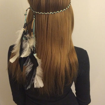 Black,White, Tribal Headband, Native American, Feather Headband, Feather hair comb, bridal hair comb, feather extension, feather clip, hair