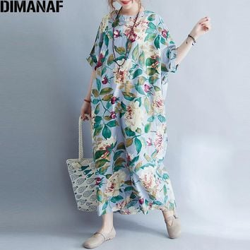 DIMANAF Women Plus Siz Long Dress Summer Vintage Batwing Sleeve Floral Linen Casual Loose Large 2018 Green Elegant Plus Size