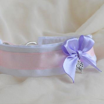 Girly snowdrop - fairy kei kawaii cute neko lolita kitten pet play collar with pendant - lavender lilac pink and white