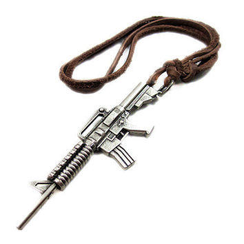 soft leather necklace,metal gun pendant men leather necklace, women leather necklace   PL0316