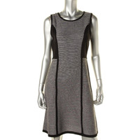 Calvin Klein Womens Knit Striped Sweaterdress