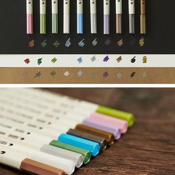 10 Colors/Set Metal Mark Pen Color Marker Graffiti Pen For Black Paper Para Metal Oil Paint Marker Sharpie Pens Chacos Drawing
