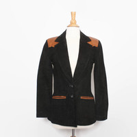 Vintage 80s LEATHER JACKET / 1980s OSHWAKON Black Suede & Brown Snake Skin Fitted Jacket S